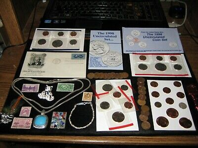Junk Drawer Coin Lot Dollar Mint Set Lot 1916 Pence Silver PD Sign Jewelry Knife