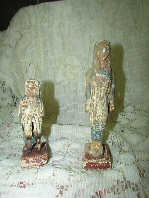 Antique Pharaonic Statues Made Of Wood, Horse And Nefertiti, Rare Made In Egypt