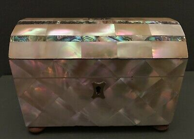 ANTIQUE MOTHER OF PEARL AND ABALONE TEA CADDY c.1840- SUPERB