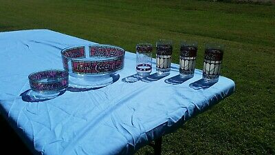 Rare Vintage Coca Cola 4 Glass Set with Chip & Dip Bowl Tiffany Style 70's