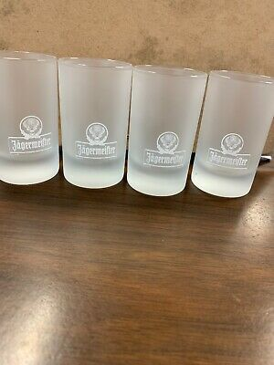 Set Of 4 Jagermeifter Frosted Shot Glasses 3 1/4""