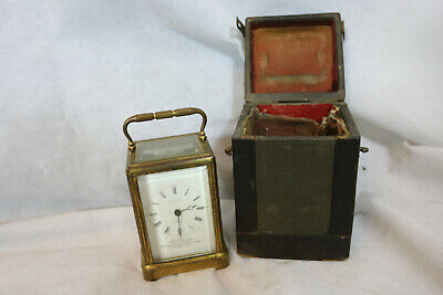 Antique Brass carriage clock 1871 JW Benson with original case needs serviced