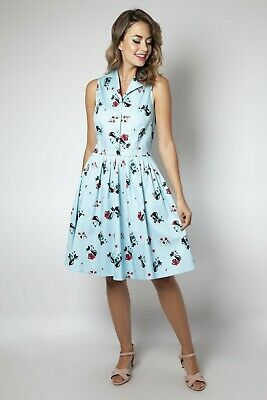 Voodoo Vixen Betty Blue Diner Button Down Mid Century Black Kitchen Cat Dress S
