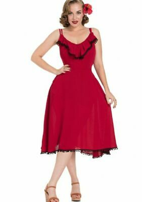 Voodoo Vixen Mid Century Red Latin Tassel Veronica Spaghetti Flare Dress XL