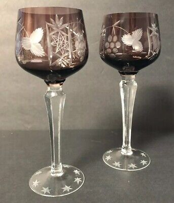 AMETHYST BOHEMIAN CUT TO CLEAR CRYSTAL WINE HOCK GOBLETS STEMS PAIR Of 2