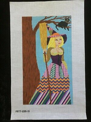 Patt and Lee Designs Hand-painted Needlepoint Canvas Large Bright Colorful Witch