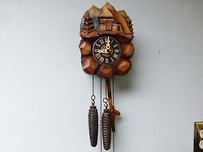 Rare Antique Mini German Cuckoo Clock Co. - 1 Day - in working condition