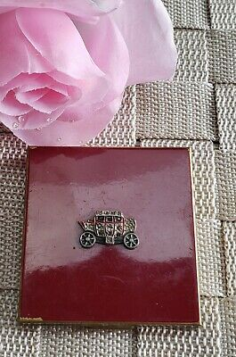 Sweet Vintage Red Foster Marcasite Carriage Coach Powder Compact 3 Compartments