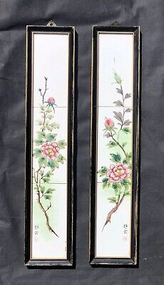 Framed Japanese Hand Painted Ceramic Tile Panels with Gilding, Signed