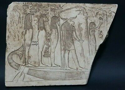 Ancient EGYPTIAN Antiques Goddess Son Boat Stela Relif Palque Egypt Stone BC