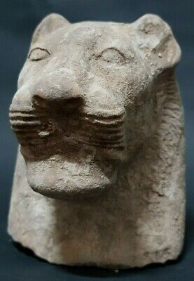 Rare ANCIENT EGYPTIAN ANTIQUES Head Of Goddess SEKHMET Powerful Deities Stone BC