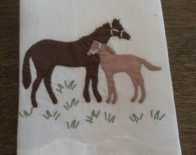 Vintage Tea Towel Embroidered Horse Mare Foal Brown Applique Hand