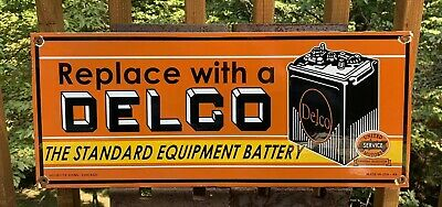 Vintage 1949 Dated Double Sided Delco Battery Porcelain Gas Station Sign