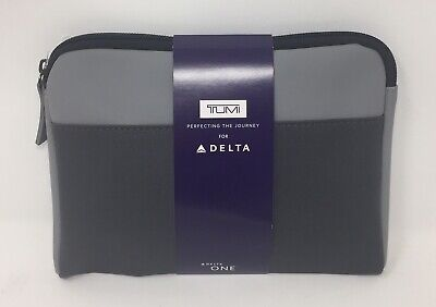 New Delta Airline One Soft Tumi Amenity Kit Gray 2019 - With Bomba Socks