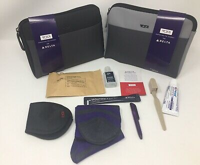 2 2019 New Delta Airline One Soft Tumi Amenity Kits One Gray And One Black
