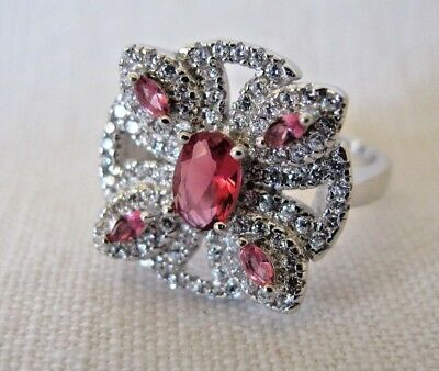 Vintage Art Deco Style 925 Sterling Silver Created Ruby Clear Topaz Size P Ring