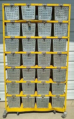 Vintage Metal Locker Basket Shelving Unit, 28 Wire Gym Baskets, Matching Numbers