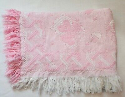 Vintage Baby Dove Pink White Woven Weave Bear Fringe Baby Receiving Blanket