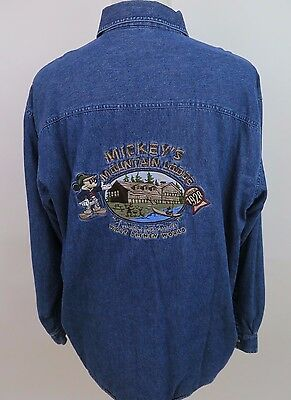 Disney Mickey Mouse Mountain Lodge Fleece Lined Embroidered Denim Shirt Large