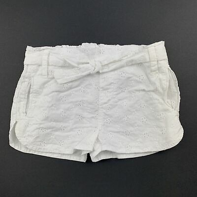 Girls size 2, Cotton On, white broderie cotton shorts, elasticated, FUC