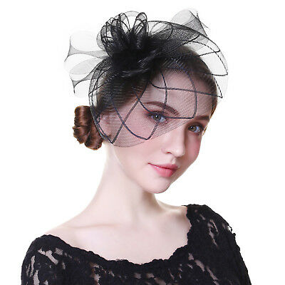 Ladies Party Cocktail Headpiece Fascinator Flower Hair Clip Feather Headband