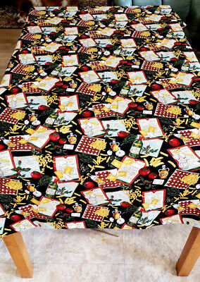 """Homemade Long Tablecloth Designer Fabric The Chef's Choice 152"""" x 43""""  Repurpose"""