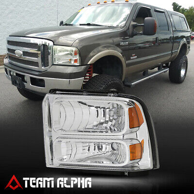 Fits 2005-2007 F250/F350 SD[LH Driver Side]Chrome Replacement Headlight Headlamp