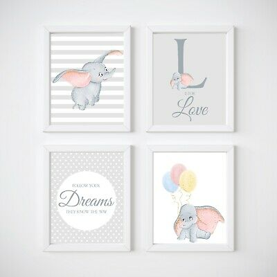 Elephant Nursery Decor, Dumbo Wall Decor, Kids Wall Prints