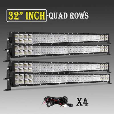 4PC32INCH 4080W QUAD-ROW LED Work Light Bar Flood Spot Offroad With Harness