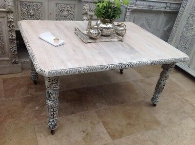 Extendable Heavily Carved Oak Wind Out Dining Table