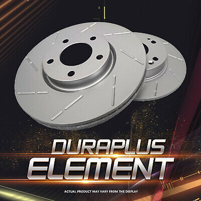 [Rear Premium Coated Slotted Brake Rotors Ceramic Pads] Fit 02-06 Acura RSX