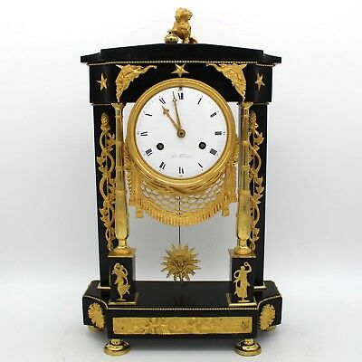 Antique Directoire Pendulum mantel Clock ormolu in Bronze and Marble - 18th
