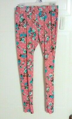 Bobbie Brooks Girl's Leggings - Pink with Floral Print - Size: M (7-8)