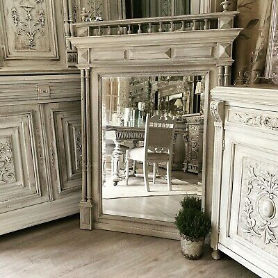 Very Large French Antique Carved Oak Wood Mirror