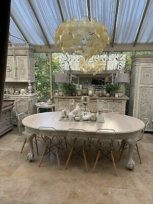 Antique Oval Ball And Claw Feet  Dining Table Solid Wood  Two Leaves