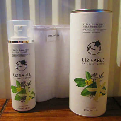 Liz Earle Cleanse and Polish Jasmine Osmanthus 150ml 2 Muslin Cloths in Canister