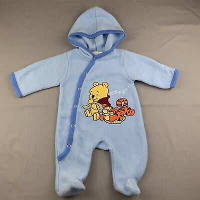 Boys size 000, Sarah Collection, Winnie the Pooh blue fleece coverall, GUC