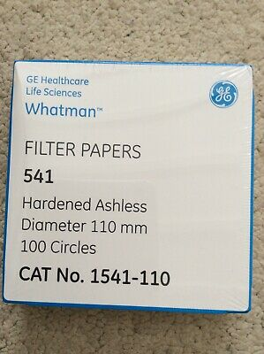 Whatman Filter Papers, Hardened Ashless 110mm Ø, x 100 circles Cat no. 1541-110