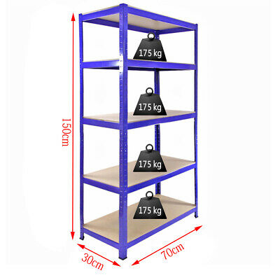 5 Tier Racking Storage Shelving Units Boltless Heavy Duty Shelves Garage Shed uk