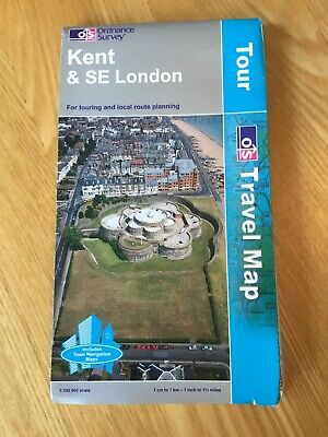 2004 Ordnance Survey Tour / Travel Map Of Kent And South East London