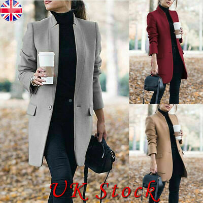 Womens Winter Wool Coat Trench Jacket Ladies Warm Long Parka Overcoat Outwear UK