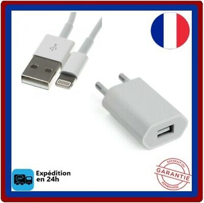 Cable-USB + Chargeur-secteur mural pour-iPhone-5-6-7-8-X-XS-XR-XS MaX-iPad-IPod
