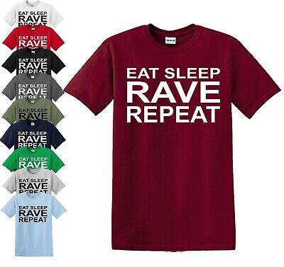 EAT SLEEP RAVE REPEAT T-Shirt S-5XL Techno 80s 90s Festival Music Dance Acid Top