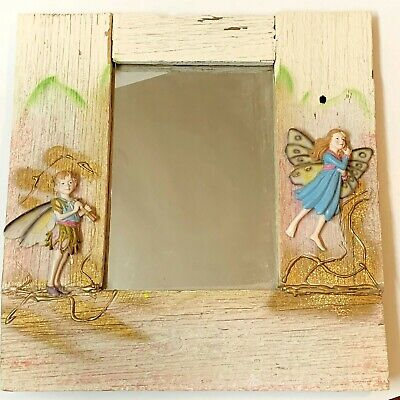 """""""Fairies in the Wood"""" Timber Plank Framed Wall Mirror 37x37cm Hand Crafted"""