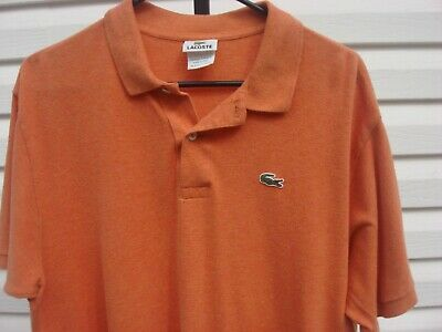 Lacoste Polo Golf Shirt Mens Size 7 Extra Large XL Orange Tennis Gator Cotton