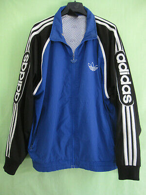 VESTE ADIDAS TREFOIL Bleu 90'S Vintage Oldschool Jacket Survetement 174 M