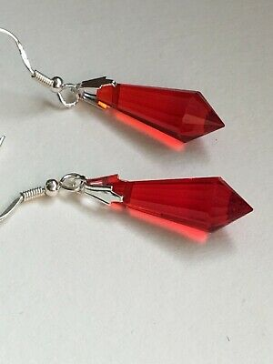 Art Deco style Ruby red crystal glass sterling silver earrings