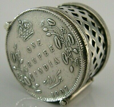 Unusual Anglo Indian Solid Silver One Rupee Coin Holder Sovereign Case Antique