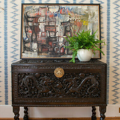 Fine Asian Deep Carved Antique Chest