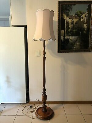 Vintage Art Deco Carved Timber Standard Floor Lamp with shade